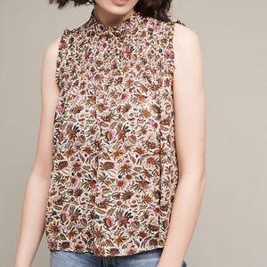 Anthropologie Maeve Smocked Floral Blouse Size 10